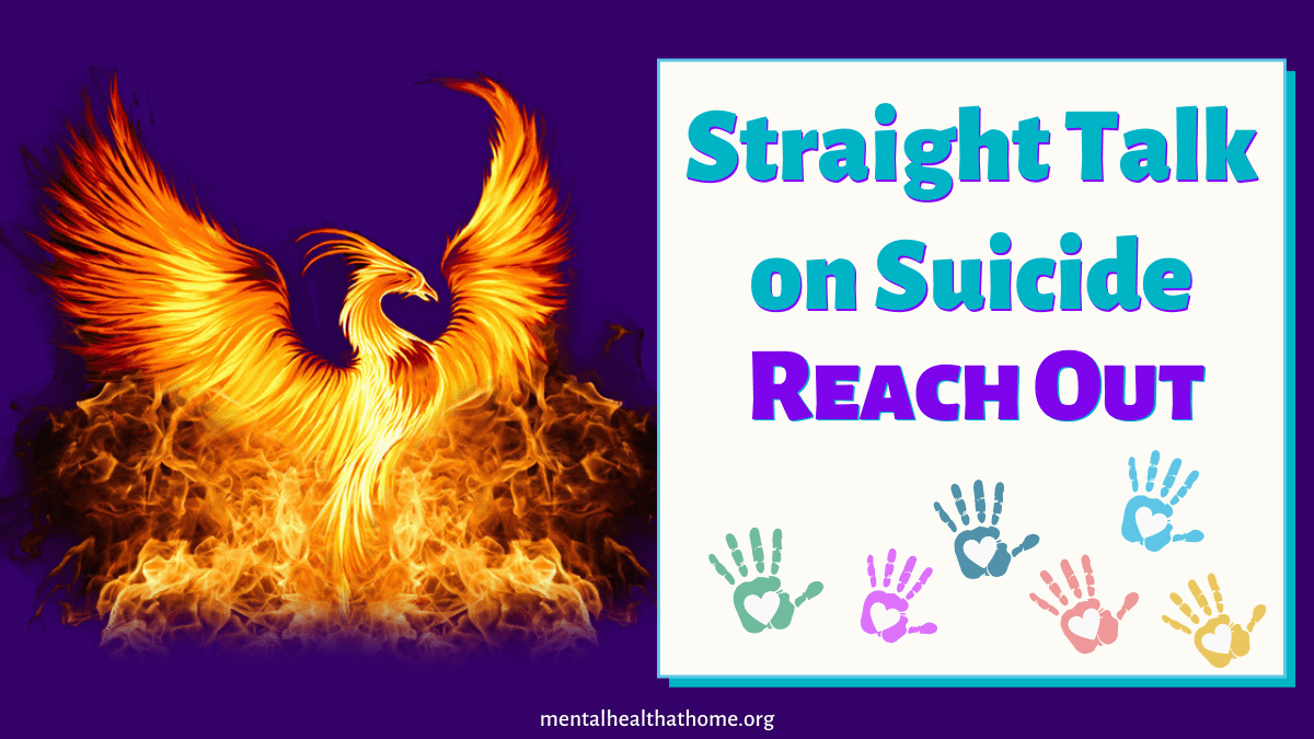 Straight Talk on Suicide from Mental Health @ Home - graphic of a phoenix in flames